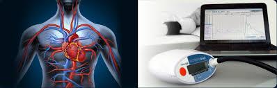 De analyse van de hart en vaten gezondheidsmeting worden geanalyseerd in een computer.